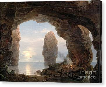 Fisherman In A Grotto Helgoland Canvas Print