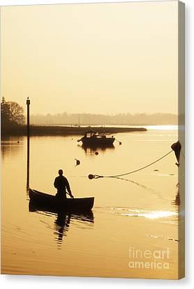 Fisherman On Lake Canvas Print by Pixel Chimp