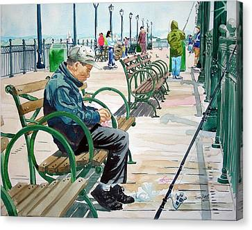 Canvas Print featuring the painting Fisherman San Francisco by Tom Riggs