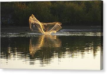 Canvas Print featuring the digital art Fisherman Throwing His Net by Anne Mott