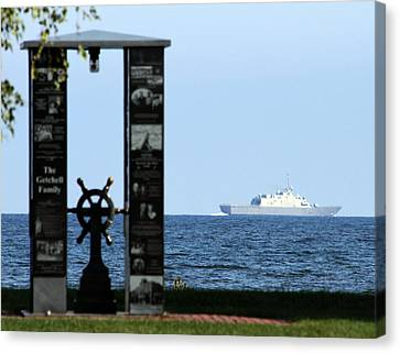 Canvas Print featuring the photograph Fishermans' Memorial At Red Arrow Park And Lcs3 Uss Fort Worth by Mark J Seefeldt