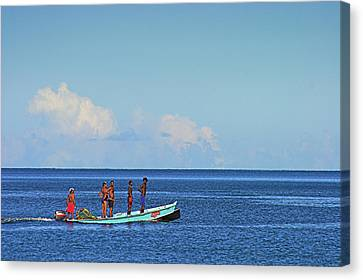 Fishermen And Canoe- St Lucia Canvas Print