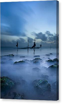 Fishermen At Blue Hour Canvas Print by Ng Hock How