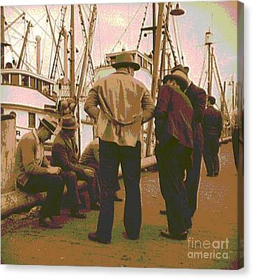 Fishermen At San Francisco Bay Canvas Print by Padre Art
