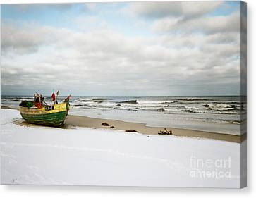 Canvas Print featuring the photograph Fishermen's Boat Waiting On A Beach by Agnieszka Kubica