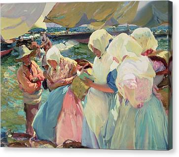 Fisherwomen On The Beach Canvas Print by Joaquin Sorolla y Bastida