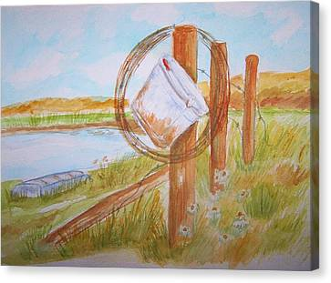 Fishin Bucket On Bobwire Fence Canvas Print by Belinda Lawson