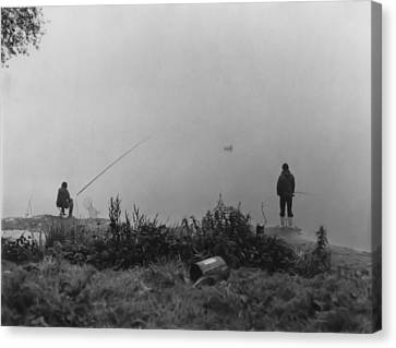 Canvas Print featuring the photograph Fishin On The Rhine by Bob Wall