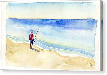 Fishing Alone Canvas Print by Catherine Twomey