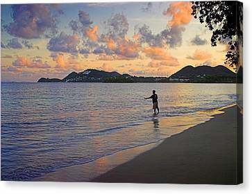 Canvas Print featuring the photograph Fishing At Dawn- St Lucia by Chester Williams