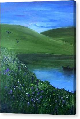 Canvas Print featuring the painting Fishing At Sunrise by Angela Stout