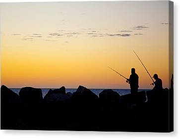 Canvas Print featuring the photograph Fishing At Sunset by Serene Maisey