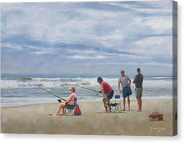 Fishing At The Beach Canvas Print by Norman Drake