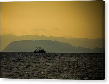 Jaco Canvas Print - Fishing Boat At Sunset by Anthony Doudt