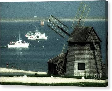 Fishing Boats And Windmill In Chatham On Cape Cod Massachusetts Canvas Print