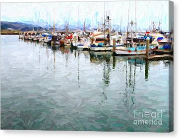 Fishing Boats At The Dock . 7d8187 Canvas Print by Wingsdomain Art and Photography
