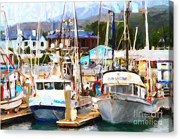 Fishing Boats At The Dock . 7d8213 Canvas Print by Wingsdomain Art and Photography