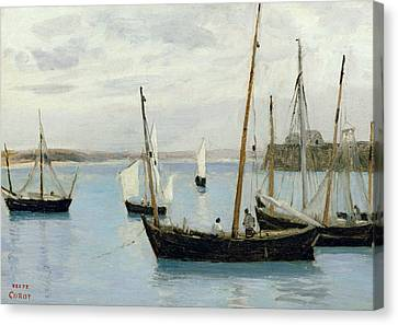 Fishing Boats Canvas Print by Jean Baptiste Camille Corot
