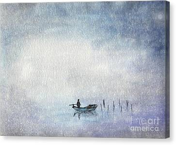 Fishing By Moonlight Canvas Print