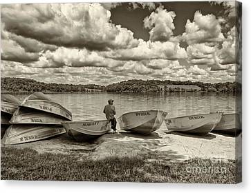 Fishing By The Boats 2 Canvas Print by Jack Paolini