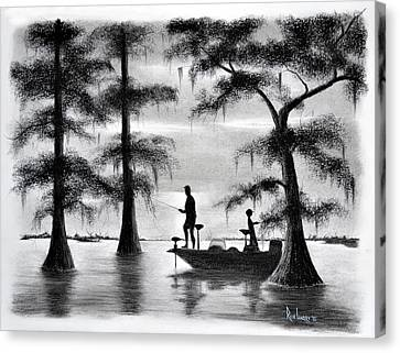 Fishing In The Basin Canvas Print by Ron Landry