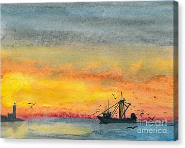 Fishing In The Evening  Canvas Print by R Kyllo