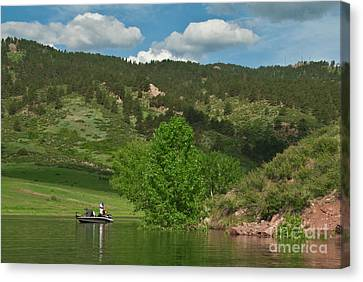 Fishing On Horsetooth Reservoir Canvas Print by Harry Strharsky
