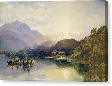 Fishing Party At Loch Achray With A View Of Ben Venue Beyond Canvas Print by Samuel Bough