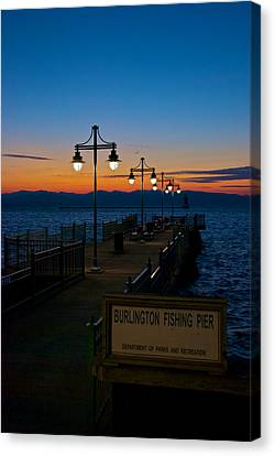 Fishing Pier At Sunset Canvas Print by Mike Horvath