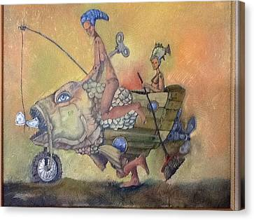 Fishing Smiles Canvas Print by Carlos Rodriguez Yorde