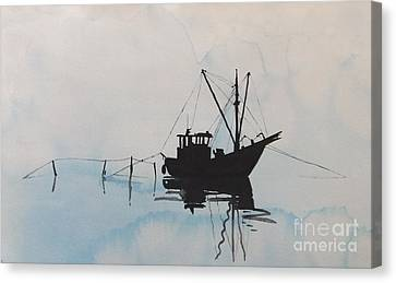 Fishingboat In Foggy Weather Canvas Print by Annemeet Hasidi- van der Leij