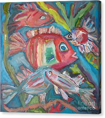 Five Fish Canvas Print by Marlene Robbins