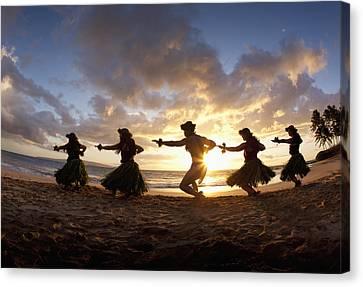 Five Hula Dancers At The Beach At Palauea Canvas Print by David Olsen