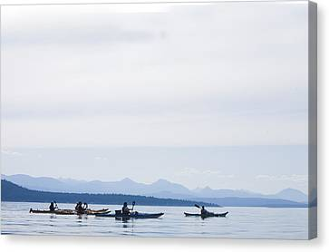 Five People Kayak In The Gulf Islands Canvas Print by Taylor S. Kennedy