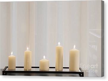 Candle Stand Canvas Print - Five White Lit Candles by Andersen Ross