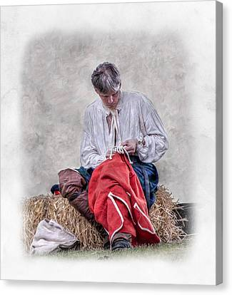 Colonial Man Canvas Print - Fixing A Hole by Randy Steele