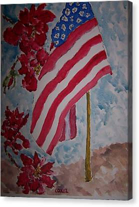 Flag And Roses Canvas Print by James Cox