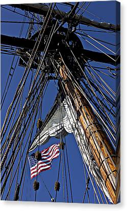 Flag In The Rigging Canvas Print by Garry Gay