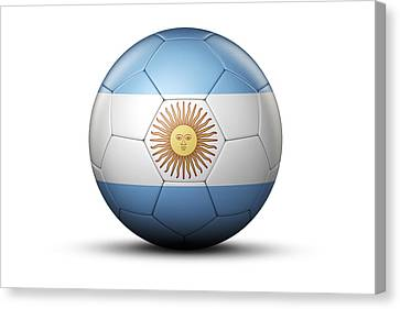 Flag Of Argentina On Soccer Ball Canvas Print by Bjorn Holland
