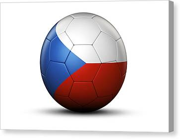 Flag Of Czech Republic On Soccer Ball Canvas Print by Bjorn Holland
