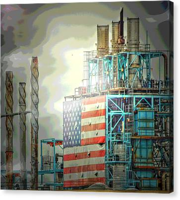 Flag On Refinery Canvas Print