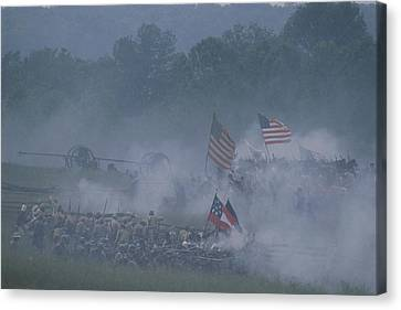 Flags, Soldiers, And Gun Smoke Canvas Print