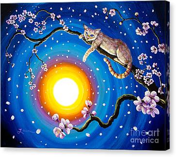 Flame Point Siamese Cat In Cherry Blossoms Canvas Print by Laura Iverson