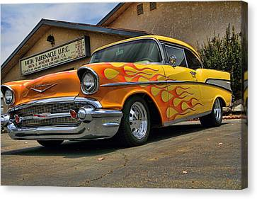 Flamed 57 Chevy Canvas Print by Fred Wilson
