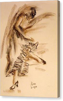 Canvas Print featuring the painting Flamenco Dancer 5 by Koro Arandia