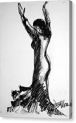 Dresses Canvas Print - Flamenco Sketch 3 by Mona Edulesco