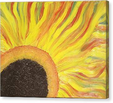 Canvas Print featuring the painting Flaming Sunflower by Margaret Harmon