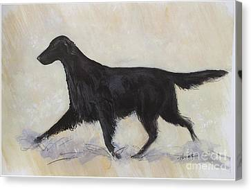 Dog Trots Canvas Print - Flatcoat Retriever by Ron Hevener