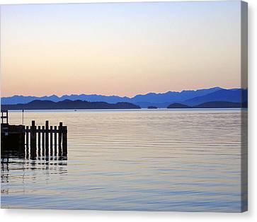 Flathead Lake At Dusk Canvas Print by Robert Meyers-Lussier