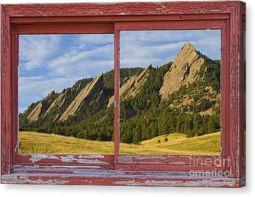 Flatirons Boulder Colorado Red Barn Picture Window Frame Photos  Canvas Print by James BO  Insogna